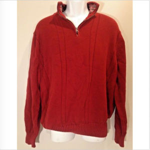 Docker Mens 1/4 Zip Red Pull-Over Knit Sweater